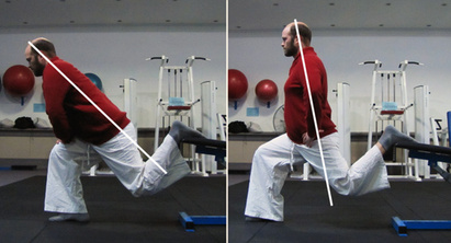 A 2 part picture showing a Bulgarian Split Squat. The image to the left shows a man hinging at the hip while he performs the exercise. The image to the right shows the man staying more upright.