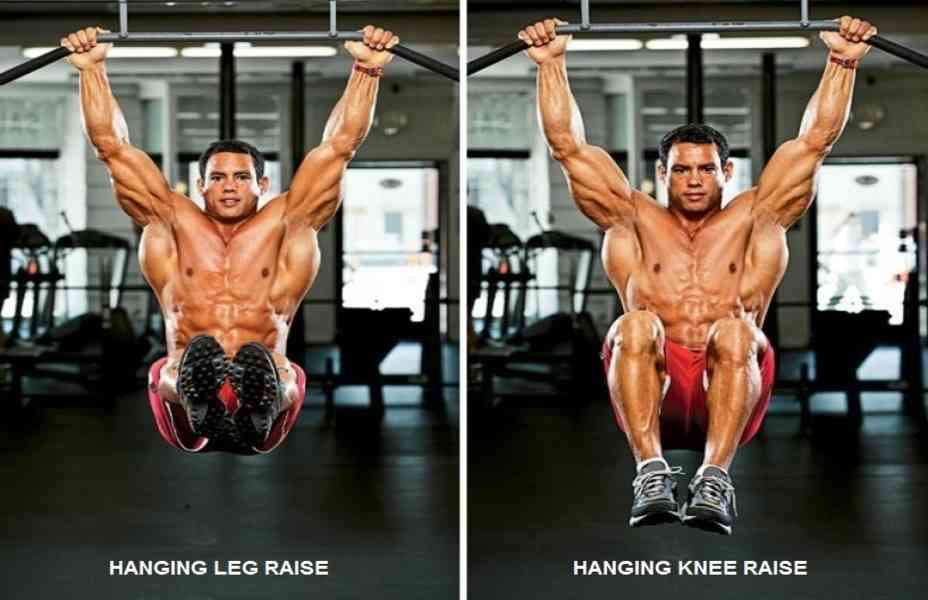 A 2 sided picture taken from the front. To the left is a shirtless man performing a Hanging Leg Raise with straight legs. To the right is the same shirtless man performing Hanging Leg Raises with bent knees.