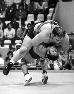 A famous belly to belly suplex by West Germany's Wilfreid Dietrich throwing American heavyweight Chris Taylor during their match at the Munich Games.