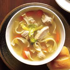 A picture of a bowl of chicken noodle soup.