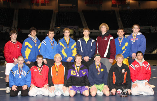 A picture of the 2009 NYS D2 wrestling champions from various high schools across NYS.
