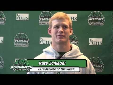 Nate Schiedel being interviewed as Binghamton University's Athlete of the Week.