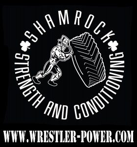 "An image of the Shamrock Strength and Conditioning, LLC logo. It consists of the name in a circle around a muscular leprechaun flipping a tire. Below the logo is ""www.wrestler-power.com"""