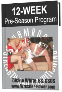 Wrestling Workout Plan - this is a digital image of an eBook featuring a Pre-Season program for wrestlers