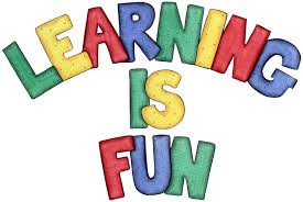 "A colorful drawing with the phrase ""Learning Is Fun"" written out in all caps."
