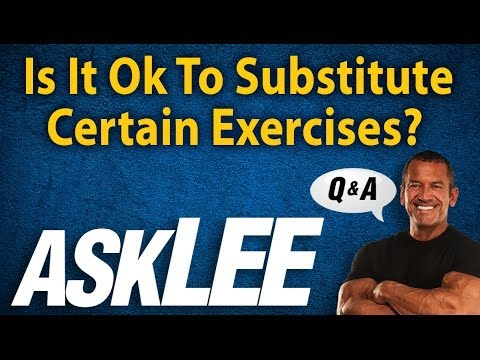 "Text that reads ""Is it ok to substitute certain exercises? Ask Lee."" It includes a picture of a man crossing his arms and smiling."